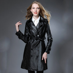 Fashion Long Leather Jacket Women Leather Coat Outerwear New 2017 Autumn Slim Ladies Jackets And Coats Chaquetas De Cuero Mujer
