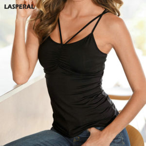 LASPERAL Summer Crop Top Women Sleeveless U Neck Cross Casual Camis Tops Sexy Black Leopard Tank Tops Feminino Bralette 2017 New