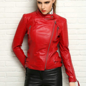 New Autumen Winter Women Genuine Real Leather Jackets Female Motorcycle Long Sleeve Red Black Coat Outerwear Hot Sale