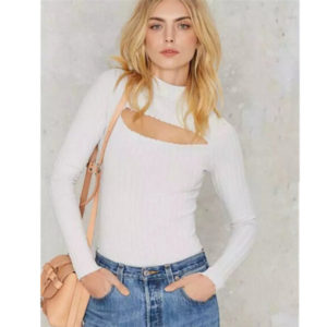 Sexy Turtleneck Hollow out Front Slit Tee New Women Tight Knitted Long Sleeve Tee Short Top