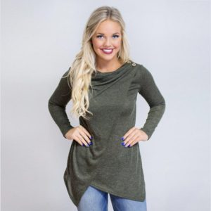 T Shirt Women 2017 Autumn Spring Style Fashion Irregular Long Slevess Top Solid Casual Color Woman Clothes