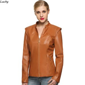 Women Leather Jacket Cool Short Faux Black Brown Coffee Zippers Ladies Silm Long Sleeve Autumn Winter Motorcycle Coat