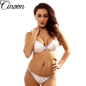 CINOON France Brand Floral Cotton Underwear Sexy Lingerie Young Girl Bra Brief Sets Print Women Push Up Lingerie Set